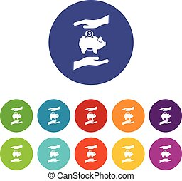 Piggy bank and hands set icons