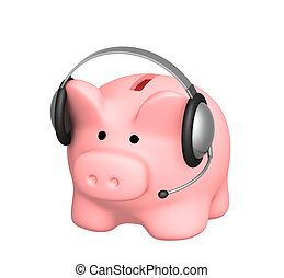 Piggy bank and headphone - 3d render