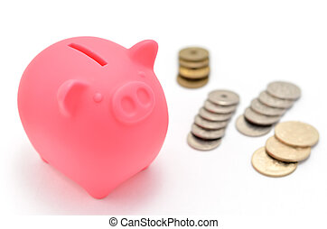 Piggy bank and japanese coin. (on white background)