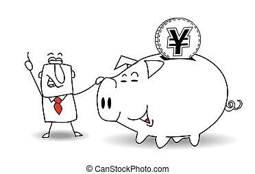 Piggy bank and japanese yen - This business man saves money...