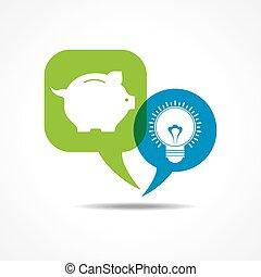 piggy bank and light-bulb
