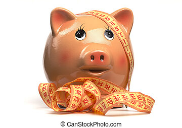Piggy Bank And Measuring Tape