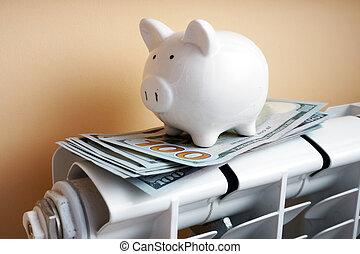 Piggy bank and money on the radiator. Savings concept.
