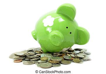 Piggy bank style money box isolated on white background