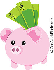 Piggy Bank and Notes - Pink ceramic piggybank with one...