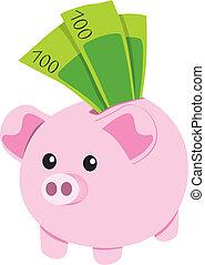 Pink ceramic piggybank with one hundred green bank notes savings