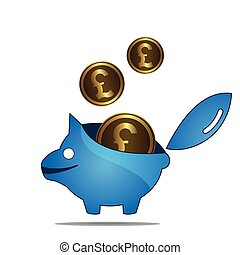 Piggy bank and pound sterling.
