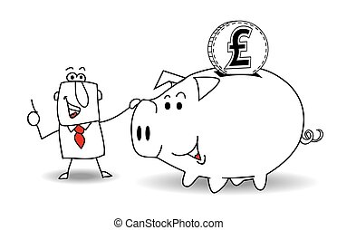 Piggy bank and pound sterling - This business man saves ...