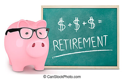 Piggy bank and retirement message