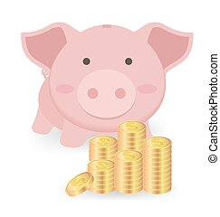 Piggy Bank And Stacks of Money Coins Isolated On White Background