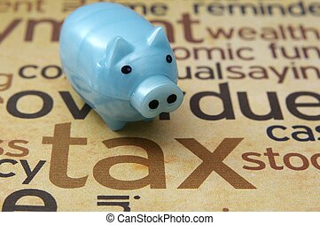 Piggy bank and tax concept