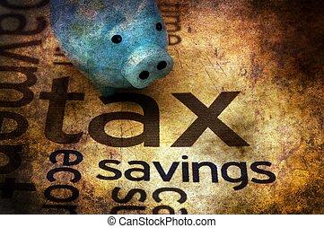Piggy bank and tax grunge concept