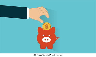Piggy bank, animation