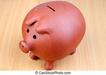 piggy-bank, auf, a, holztisch