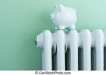 Piggy Bank Balanced On Radiator To Illustrate Energy Costs