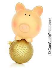 Piggy bank balancing on a Christmas ball