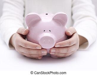 piggy bank, beskyttet, af, hænder