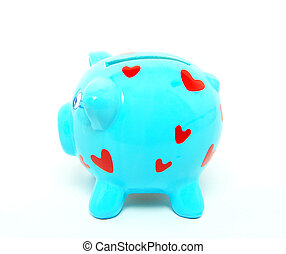 piggy bank , blauwe