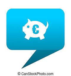 piggy bank blue bubble icon
