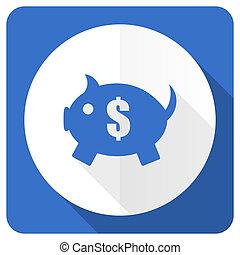 piggy bank blue flat icon