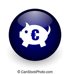 Piggy bank blue glossy ball web icon on white background. Round 3d render button.