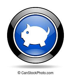piggy bank blue glossy icon