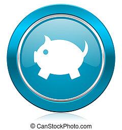 piggy bank blue icon