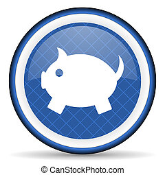 piggy bank blue icon