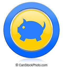 piggy bank blue yellow icon