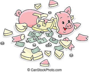 piggy bank - Broken moneybox with saved money for a rainy...
