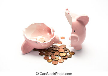 Piggy bank broken with money