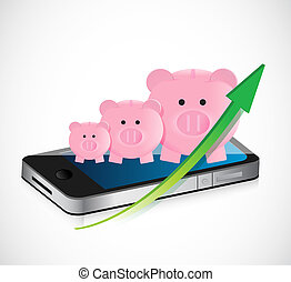 piggy bank business graph and mobile phone