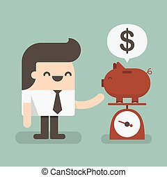 Piggy bank - Businessman saving money in a piggy bank