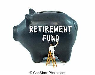 piggy bank, by, fratrædelse fond
