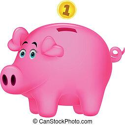 Piggy bank cartoon - Vector illustration of Piggy bank...