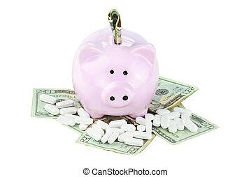 Piggy Bank, Cash and Medicine