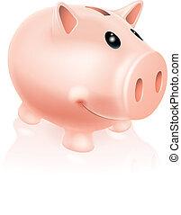 Piggy Bank Character - A Drawing of a smiling cartoon piggy...