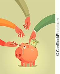 Piggy bank character with money. Vector flat cartoon illustration