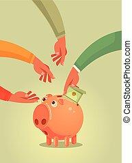 Piggy bank character with money. Vector flat cartoon illustration