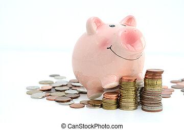 Piggy bank climbing on piles of money suggesting cash savings growth