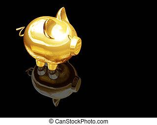 Piggy bank - 3D render of gold piggy bank