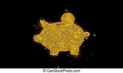 Piggy bank Coin Icon Sparks Glitter Particles on Black Background. Shape, Design, Text, Element, Symbol Alpha Channel 4K Loop.