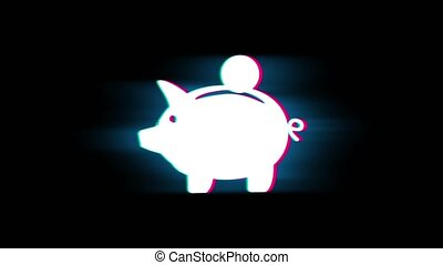 Piggy bank Coin Symbol on Glitch Retro Vintage Animation. -...