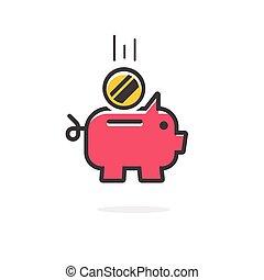 Piggy bank coin vector icon isolated
