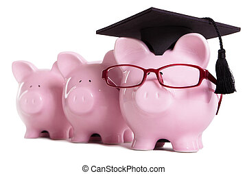 Piggy bank college student graduate graduation concept, education success, teaching, graduating, piggybank with glasses