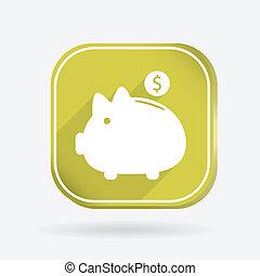 piggy bank. Color square icon