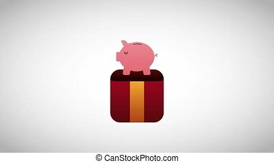 piggy bank coming out gift box surprise animation