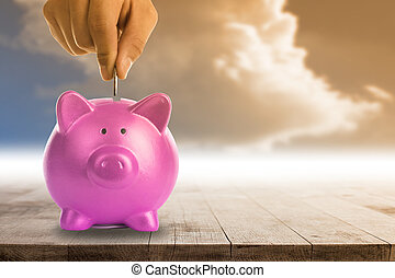 Piggy bank concept.