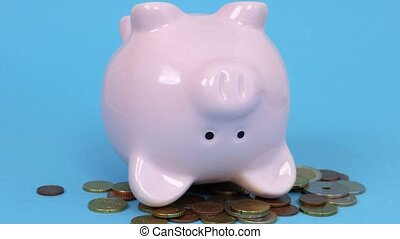 Piggy bank concept with the feet up