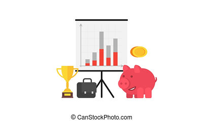 Piggy bank cup suitcase flip chart. Business concept. Alpha channel.